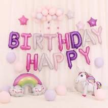 Lehoo Castle Unicorn Balloons for Birthday, 35 Pcs Birthday Decorations for Girls, Unicorn Party Decoration for Girl Birthday, Happy Birthday Balloons, Pink & Purple Balloon