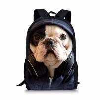 Coloranimal Cute French Bulldog Pattern Kids School Backpack Bookbags for Girls