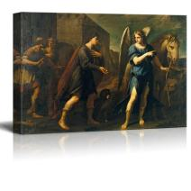 """wall26 - Tobias Meets The Archangel Raphael by Andrea Vaccaro - Canvas Print Wall Art Famous Oil Painting Reproduction - 12"""" x 18"""""""