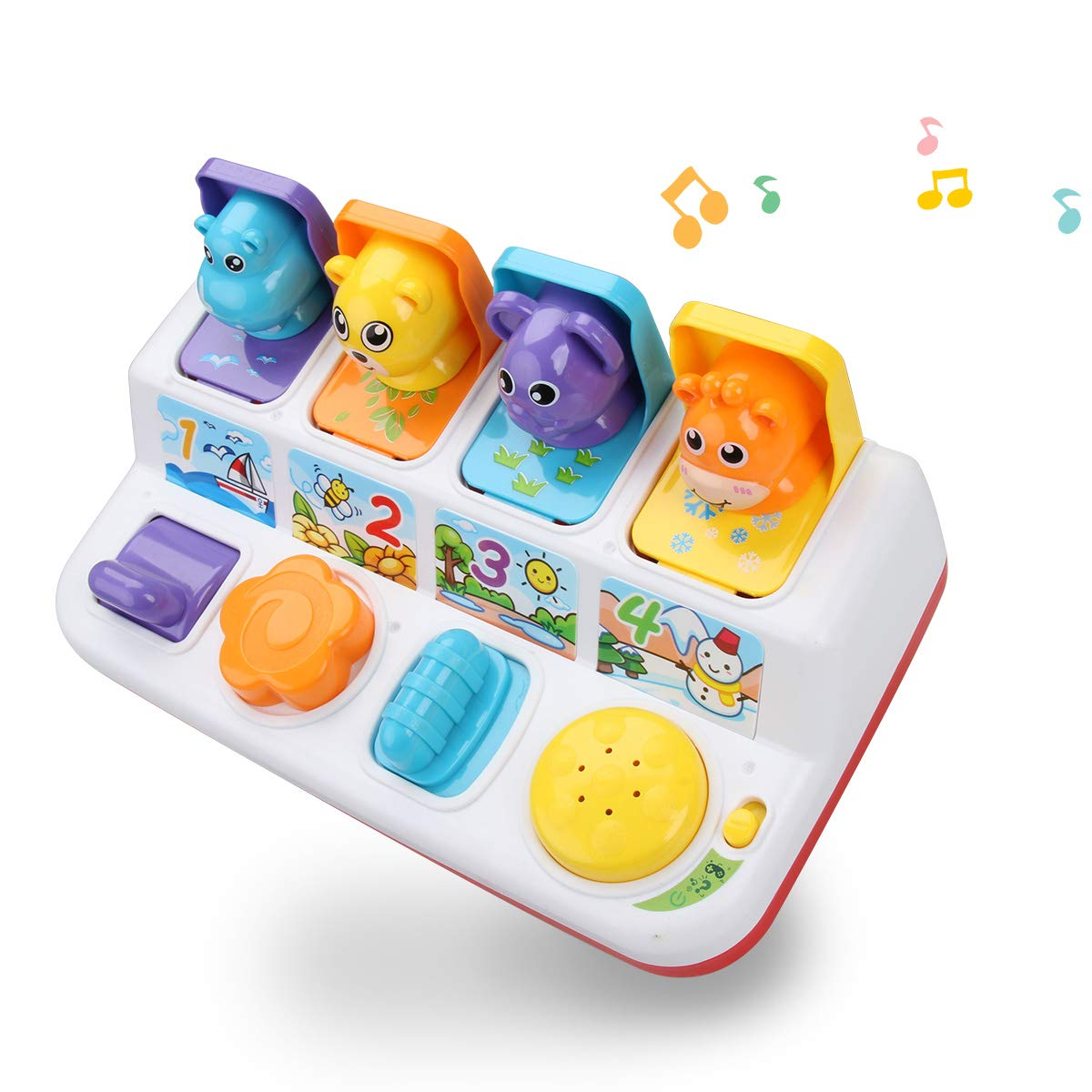 FS Interactive Pop Up Animals Toy with Light, Music, Animal Sound, Pop-up Activity Toys as Gifts for Ages 9-12-18 Months Toddlers & 1 Year Old Kids, Babies, Boys&Girls