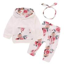 Toddler Baby Girl Clothes Newborn Fall Outfit Long Sleeve Hoodie Sweatshirt + Pant Infant Outfits Set