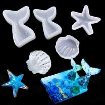 iSuperb 4 pcs Epoxy Resin Molds Silicone Molds Starfish Seashell Mermaid Tail Molds Jewelry Casting Molds for Decoration Craft DIY (4 Molds)
