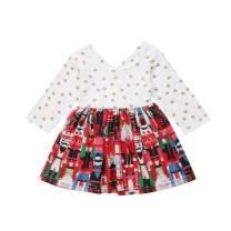 Toddler Baby Girls Kids Christmas Dress Ruffle Long Sleeve Doll Cartoon Print Skirt Outfit Set