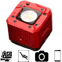"""Flashoot C-08 8W 200LUX/1M Mini Aluminum LED Video Light with 1/4"""" Compatible for Phone/Camera/Drone/GoPro/DJI ZhiyunFeiyu Moza Gimbal, 20m Waterproof Led Used for Diving, Camping,Party-Red"""
