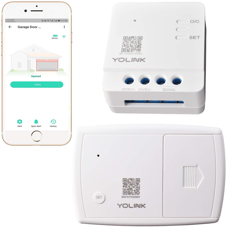 YoLink Garage Door Controller and Wireless Sensor - Remote Control Existing Garage Door Opener, 1/4 Mile World's Longest Range Garage Door Control Kit Compatible with Alexa IFTTT, YoLink Hub Required
