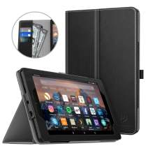 Dadanism Case Fits All New Amazon Kindle Fire 7 2019 Tablet (9th Generation, 2019 Release Only), Premium PU Leather Lightweight Slim Stand Cover with Hand Strap and Card Slot, Auto Wake/Sleep – Black