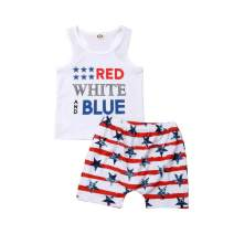 Infant Baby Boys 4th of July Outfits Sleeveless T-Shirt Vest American Flag Stars Striped Shorts Clothing Set