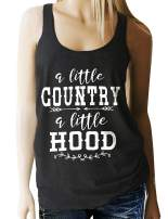 HDLTE A Little Country A Little Hood Workout Tank Women Country Music Racerback Summer Funny Saying