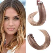 sindra 18inch Ombre Remy Tape in Hair Extensions 20pcs Balayage Seamless Skin Weft Human Hair Extensions Color 6/27/27 50g/sets