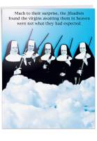 "Jumbo 8.5"" x 11"" Happy Birthday Paper Card (With Envelope) - Funny""Virgins In Heaven"" Nuns Holding Rifles - Hilarious Congratulations Greeting on This Special Day (Extra Large) #J0765"