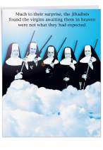 """Jumbo 8.5"""" x 11"""" Happy Birthday Paper Card (With Envelope) - Funny""""Virgins In Heaven"""" Nuns Holding Rifles - Hilarious Congratulations Greeting on This Special Day (Extra Large) #J0765"""