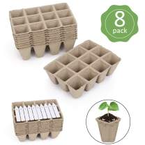 Seeding Tray,KISSTAKER Seed Starter Peat Pots Kit for Garden Seedling Tray 8 Pack-96 Cells Include 10pcs Plastic Plant Markers