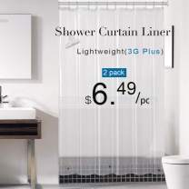 downluxe Set of 2 Clear Shower Curtain Liner 72x72 - PEVA 3 Gauge Light Weight,Waterproof,Odorless with Rust-Resistant Grommets Holes