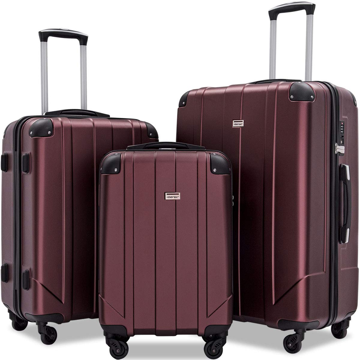 Merax 3 Pcs Luggage Set with Built-in TSA and Reinforced Corners, Eco-friendly P.E.T Light Weight Spinner Suitcase Set (Mahogany)