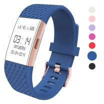 Wearlizer Compatible with Charge 2 Bands Accessories Silicone Strap Replacement Charge 2 Special Edition Lavender Rose Gold Buckle Blue