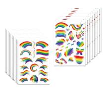 AmFor 20 Sheets Rainbow Tattoo Stickers, Temporary Tattoo Body Paint Waterproof Sweatproof for Gay Pride Parade Celebrations