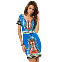 KUREAS Women Short Sleeves Bodycon Dress Dashiki African Print Dress Mini Tribal Dress