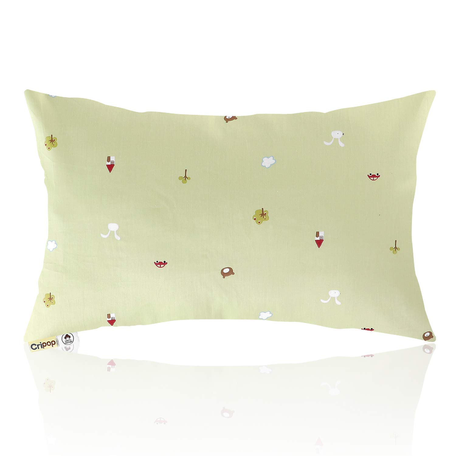 """CRIPOP Organic Cotton Toddler Pillow with Pillowcase - Natural Soft Kids Baby Pillows with 100% Cotton Cover and 100% Dupont Sorona Filler for Sleeping, 13"""" x 18"""", 11 Pattern Colors (Green World)"""