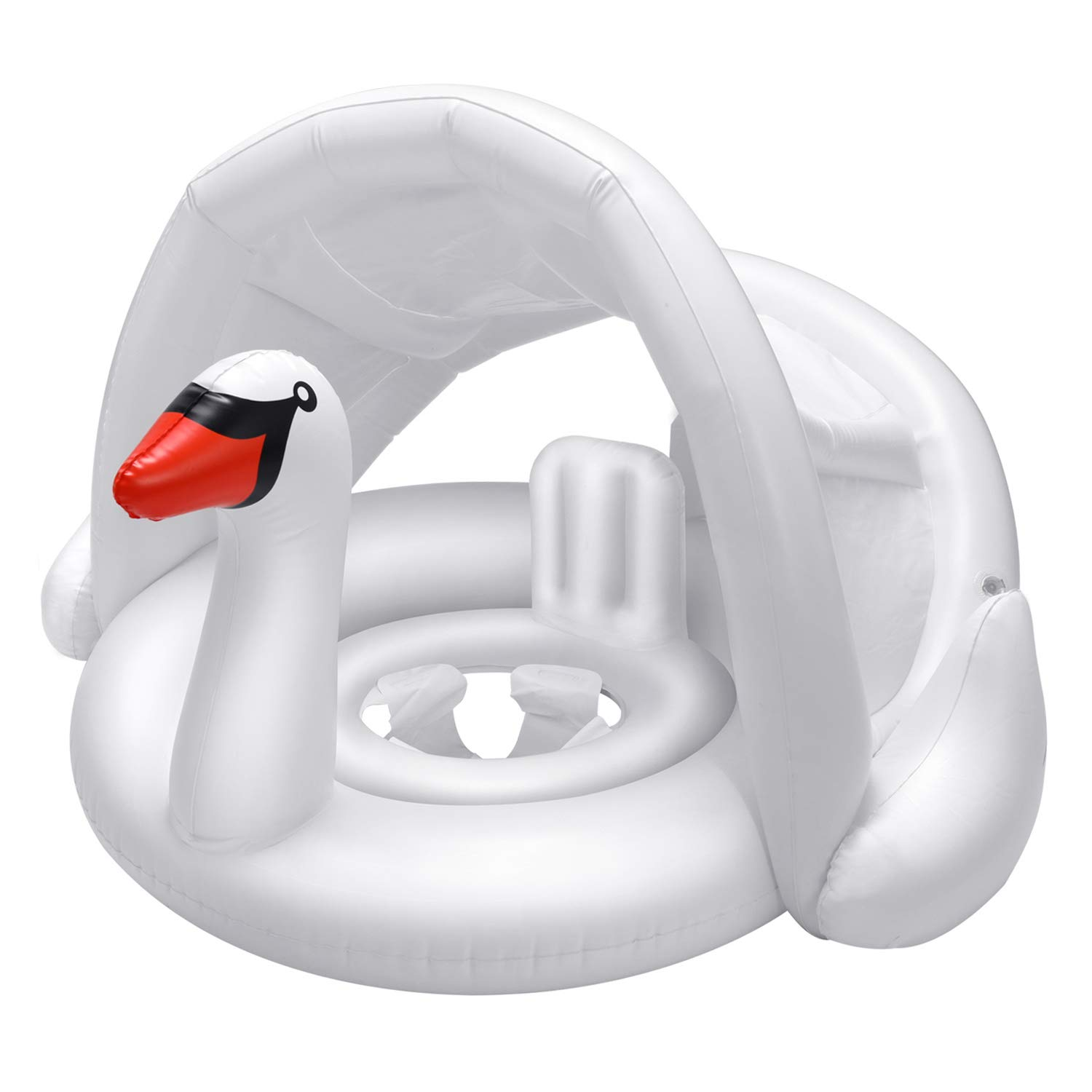 iefoah Baby Pool Float with Canopy Swan Inflatable Floatie with Sunshade Swan Swimming Ring for Infant Boys Girls Toddlers White