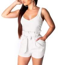 SheKiss Women's Sexy Spaghetti Strap Striped High Waist Wide Leg Long Pants Palazzo Jumpsuit Rompers Ladies Outfits