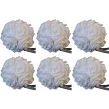 idyllic 5 Inches Kissing Flower Foam Ball Romantic Rose Pomander White for Wedding Centerpieces Decorations Soft Touch 6 Pack