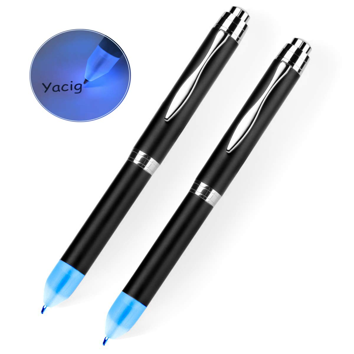 Light Up Pen Yacig Intellectual LED Pen light for Night Writer LED Tactical Lighted Tip Pen, Two Brightness Settings,1x AAA Battery Powered,Easy to Operate, Pack of 2 - Blue