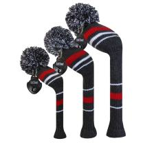 Scott Edward Knit Wood Golf Covers Set of 3 Cutest Pom Pom Fit Over Well Driver Wood(460cc) Fairway Wood and Hybrid(UT) The Perfect Change for Golf Bag