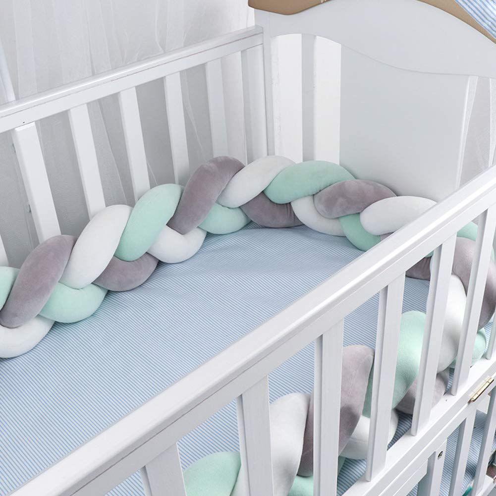 Luchild Baby Braided Crib Bumper Soft Snake Pillow Protective & Decorative Long Baby Nursery Bedding Cushion Knot Plush Pillow for Toddler Newborn-Gray+White+Green