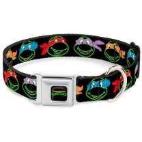 Buckle-Down Seatbelt Buckle Dog Collar - Classic TMNT Electric Expressions Black/Multi Neon