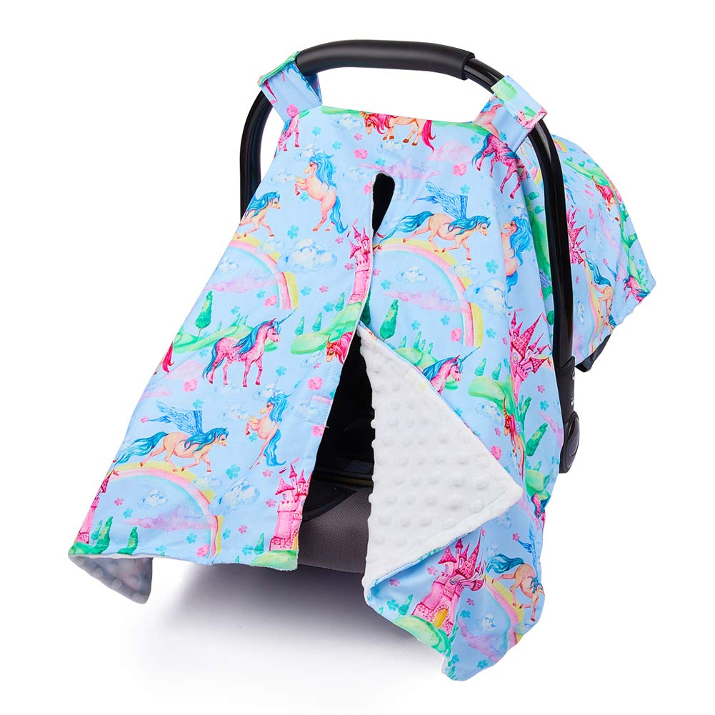 MHJY Carseat Canopy Cover Nursing Cover Breathable Cotton Infant Car Seat Canopy Carseat Cover Nursing Scarf for Boy Girl Baby Shower Gift,Unicorn-Rainbow