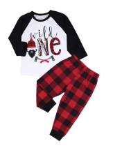 Baby 1st Birthday Outfits Wild One Long Sleeve T-Shirt with Red Plaid Pant and Hat