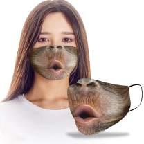 VTH Global Funny 3D Orangutan Chimpanzee Monkey Reusable Washable Face Mask Women Men for Dust Protection