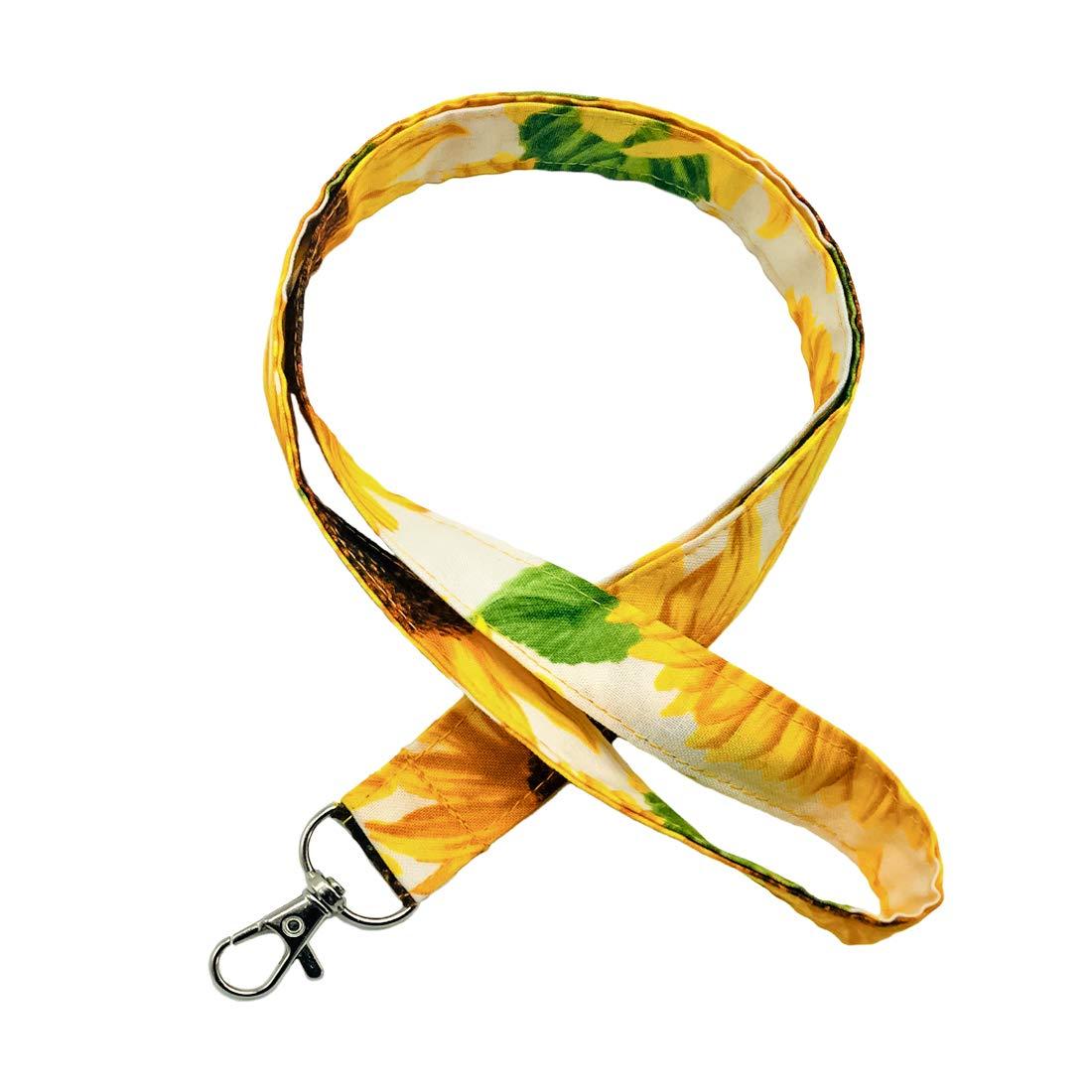 LNKRE JEWELRY Sunflower Lanyard Skinny Fabric Soft Neck Strap Cotton Fabric Pretty Keychain Lanyard,ID Badge Holder,Key Fob for Wallet,Cell Phone,Teacher,Women,Girls