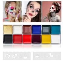 12 Color Face Body Paint Kit, Professional Face Painting Kit for Kids & Adults - Non-Toxic, Hypoallergenic Paints Palette with 8 Painting Stencils for Halloween Party Cosplay (#01 (42g / 1.48oz))
