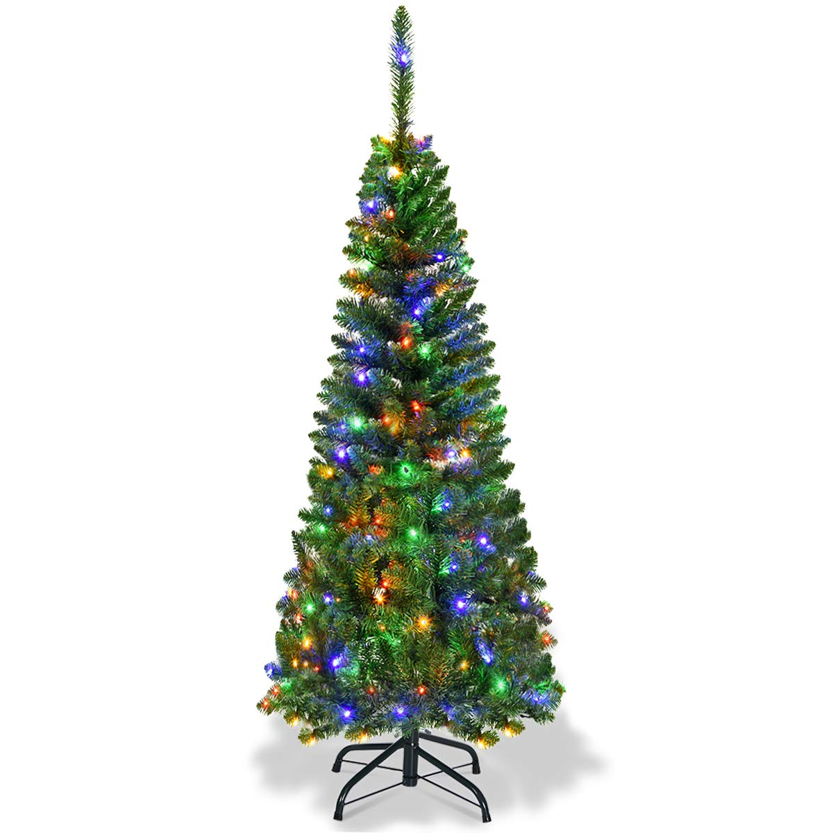 Goplus 7.5ft Prelit Pencil Christmas Tree, Premium Hinged Fir Tree, with LED Lights and Solid Metal Stand, Easy Assemble, Ideal Xmas Decor for Home and Office, Colored LED