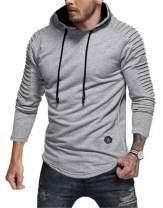 LeaLac Mens Casual Long Sleeve Plain Pullover Drawstring Hoodie Hem Curved Fleece Basic Breathable Sweatshirt