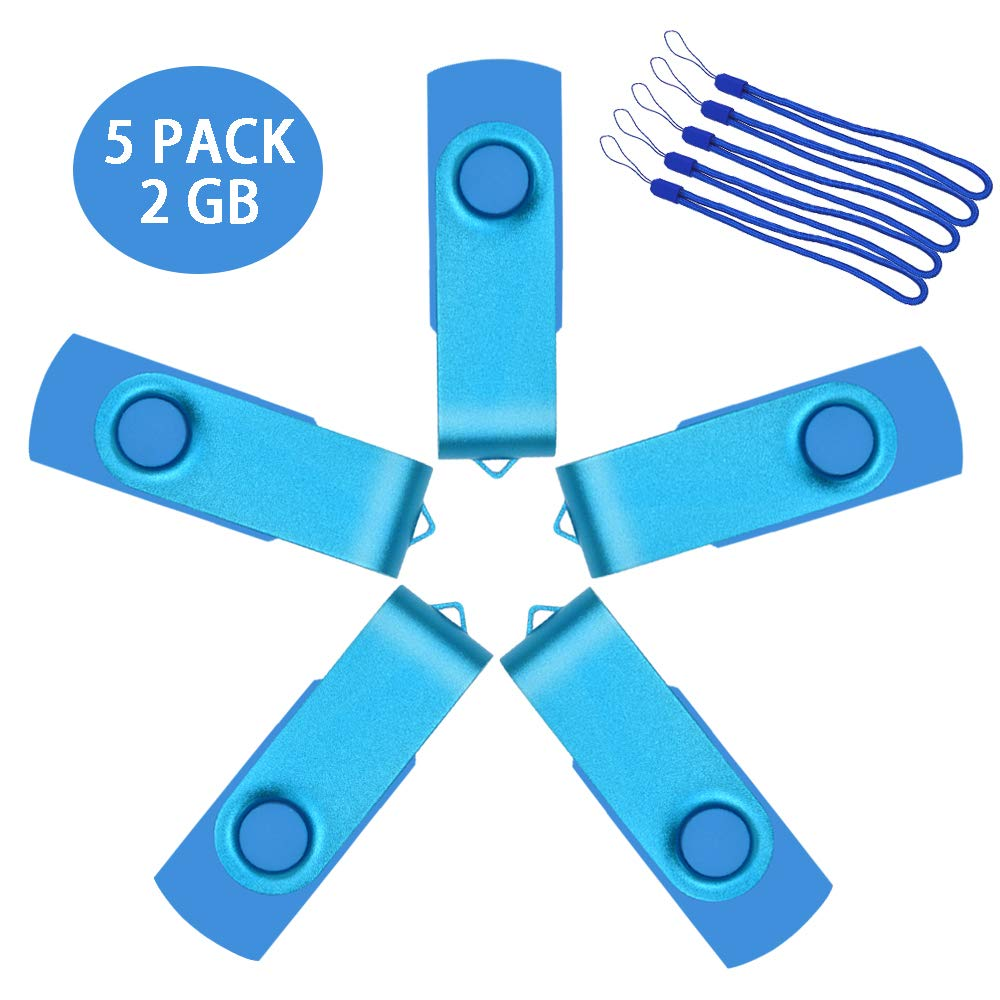 5 Pack 2 GB Flash Drive Multipack Thumb Drives Metal Jump Drive 2GB Swivel Pen Drive USB 2.0 Bulk Zip Drives Sky Blue Memory Stick with Lanyads by Uflatek