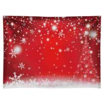 Funnytree 8x6FT Durable Fabric Red Magic Christmas Photography Backdrop Winter Party Decoration Bokeh White Snowflake Background Photo Booth