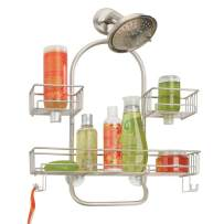 mDesign Extra Wide Metal Wire Tub & Shower Caddy, Hanging Storage Organizer Center with Built-in Hooks and Baskets on 2 Levels for Shampoo, Body Wash, Loofahs - Rust Resistant - Satin