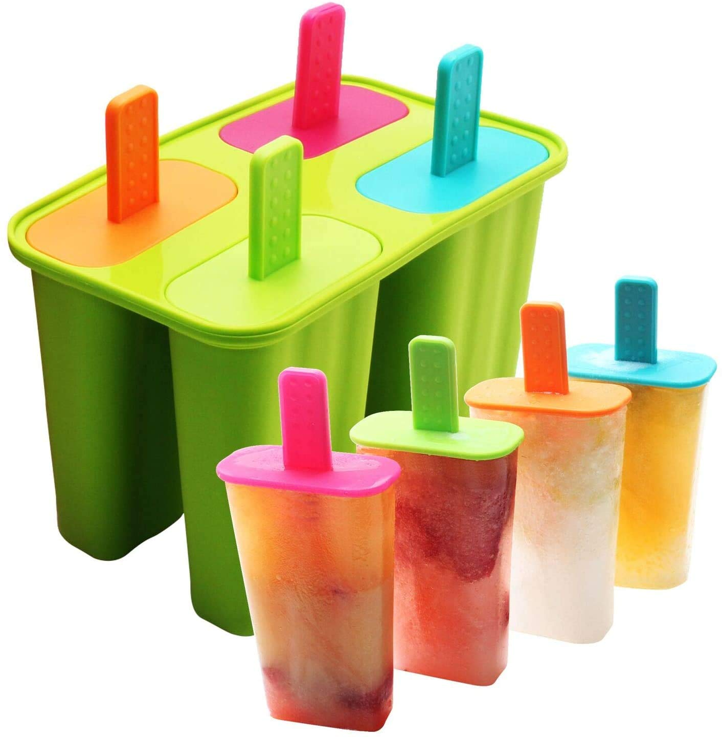 Silicone Popsicle Molds Ice Pop Molds Maker BPA Free - Set of 4 - Food Grade Ice Cream Moulds Ice Pops Shapes for Homemade Popsicle, Dishwasher Safe (Green)