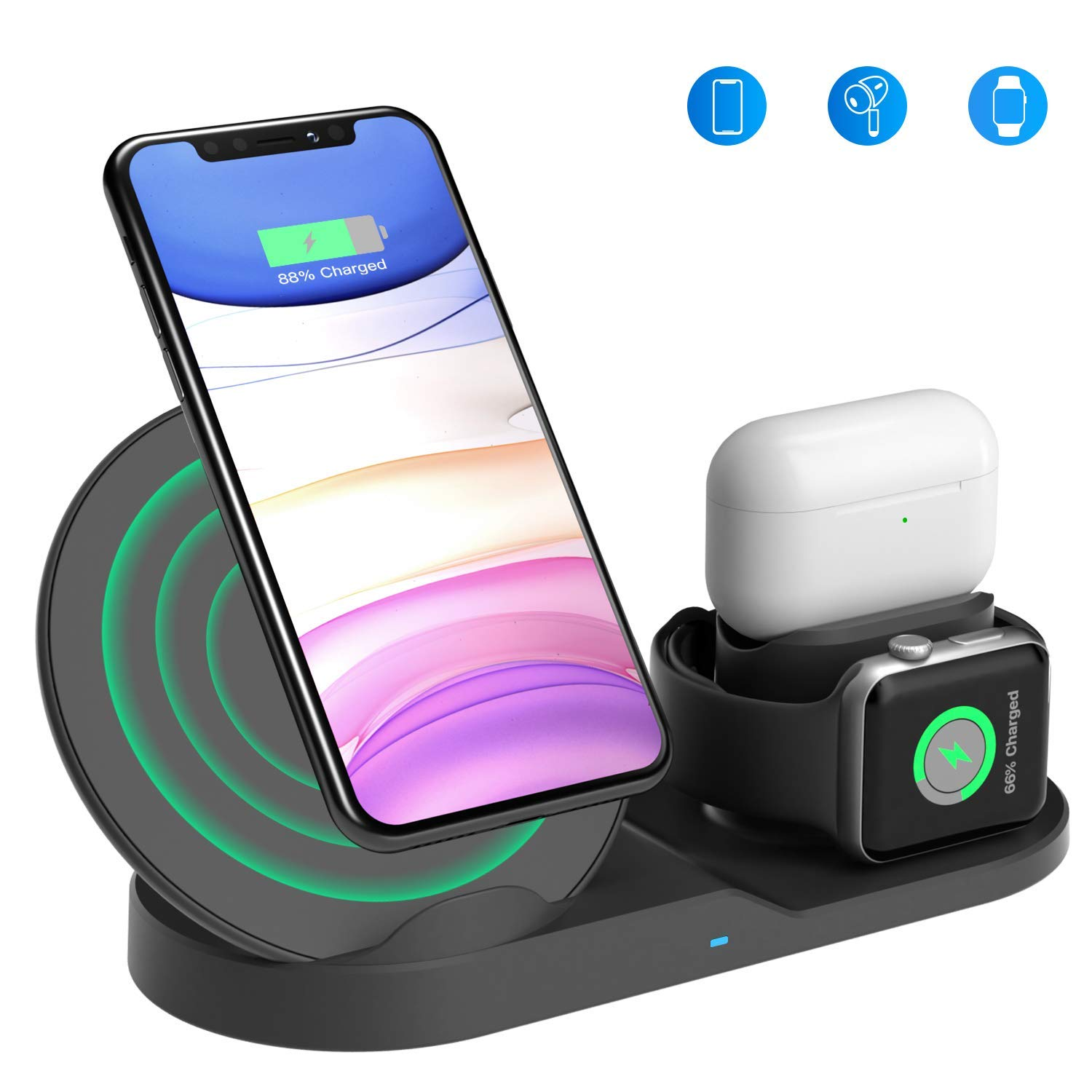 Wireless Charging Stand, Wireless 3 in 1 Charging Station Compatible iPhone 11/11 pro/11 Pro Max/Xs/XS Max/XR/X/8/8P Airpods 1, Airpods 2, Airpods pro, iWatch Series 5 4 3 2 1 - Adapter NOT Included