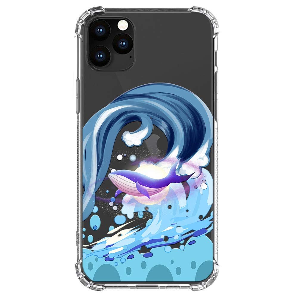 """HUIYCUU Compatible with iPhone 11 Pro Case 5.8"""", Shockproof Anti-Slip Cute Glitter Clear Design Crystal Animal Pattern Slim Fit Soft Bumper Girl Women Cover Case for iPhone 11 Pro, Wave Whale"""