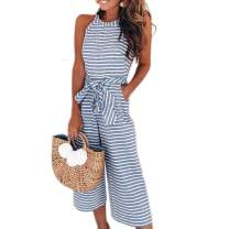 Hount Women's Summer Sleeveless Striped Jumpsuit Loose Wide Leg Belted Jumpsuits Romper with Pockets