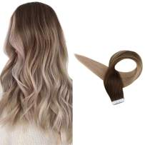 Full Shine Human Hair Extensions Tapes In 14inch Ash Blonde Ombre Human Hair Extensions of Tape in Hair Extensions Balayage Hair Color #4 Fading to #18 50g 20Pcs Real Hair Skin Weft Remy Human Hair