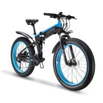 EXTRBICI Folding Fat Tire Bike 48V 1000W 12.8AH 27S for Adults Foldable Snow Bicycle Motorized with Full Suspension XF690