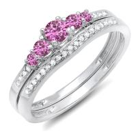 Dazzlingrock Collection 14K Round Pink Sapphire And White Diamond 5 Stone Bridal Engagement Ring Matching Band Set, White Gold