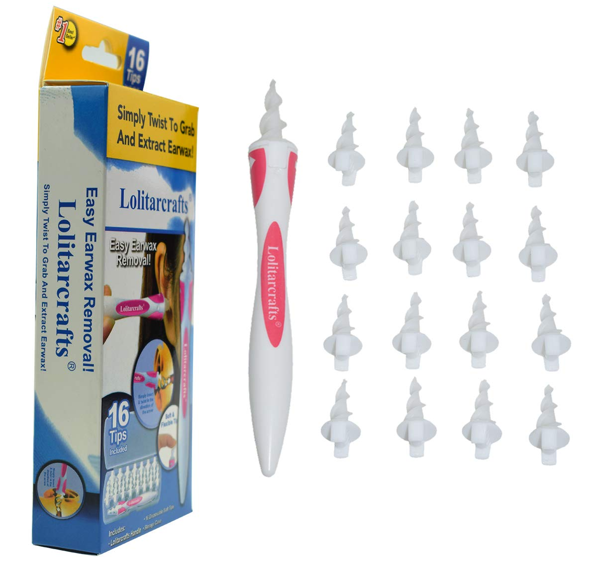 Lolitarcrafts Ear Wax Remover,Soft and Flexible Earwax Removal Tool Spiral Ear Cleaner with 16 Replacement Tips for Adults & Kids Ear Cleaning