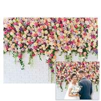 Funnytree Floral White Brick Wall Photography Backdrop Rustic Bridal Shower Wedding Flowers Background Baby Girl Birthday Party Decorations Portrait Cake Table Banner Photo Booth Studio Props 7x5ft