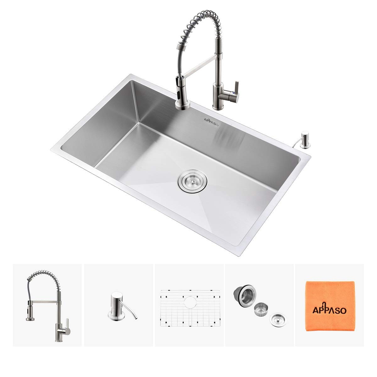 APPASO Kitchen Sink and Faucet Combo Set, 12 Inches Stainless Steel Single  Bowl Kitchen Sink Undermount and Commercial Pull Down Kitchen Faucet Kit
