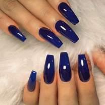 Victray Glossy Coffin Press on Nail Full Cover False Nails Blue Nail Tips Ballerina Acrylic Fake Nails for Women and Girls (24PCS)